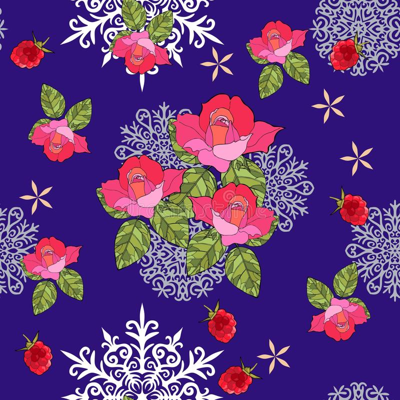 Winter seamless pattern with snowflakes, bouquet of roses and raspberries on blue background. royalty free illustration