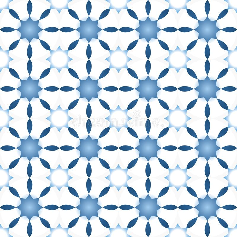 Winter seamless pattern with stars or abstract flowers in light blue shades. royalty free illustration