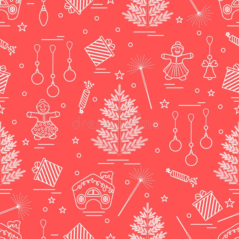 Winter seamless pattern with variety Christmas elements: tree,. Balls, petard, sparkler, gingerbread man and house, bell, gifts, stars. Design for banner, flyer royalty free illustration