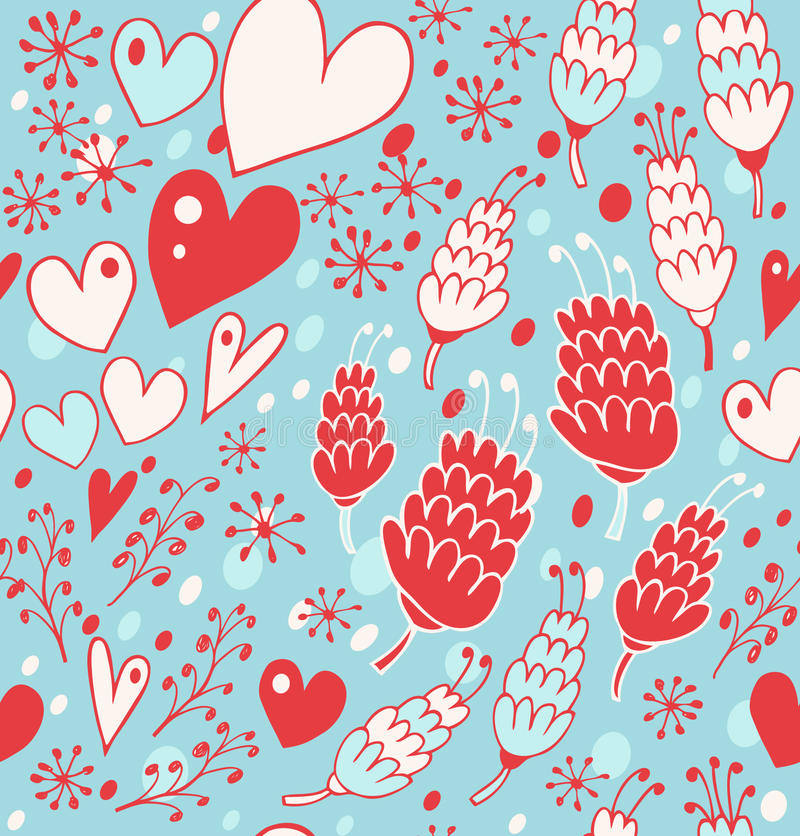 Free Winter Seamless Pattern With Flowers, Hearts And Snowflakes. Endless Lace Background For Prints, Textile, Scrapbooking, Craft Stock Photography - 42270512