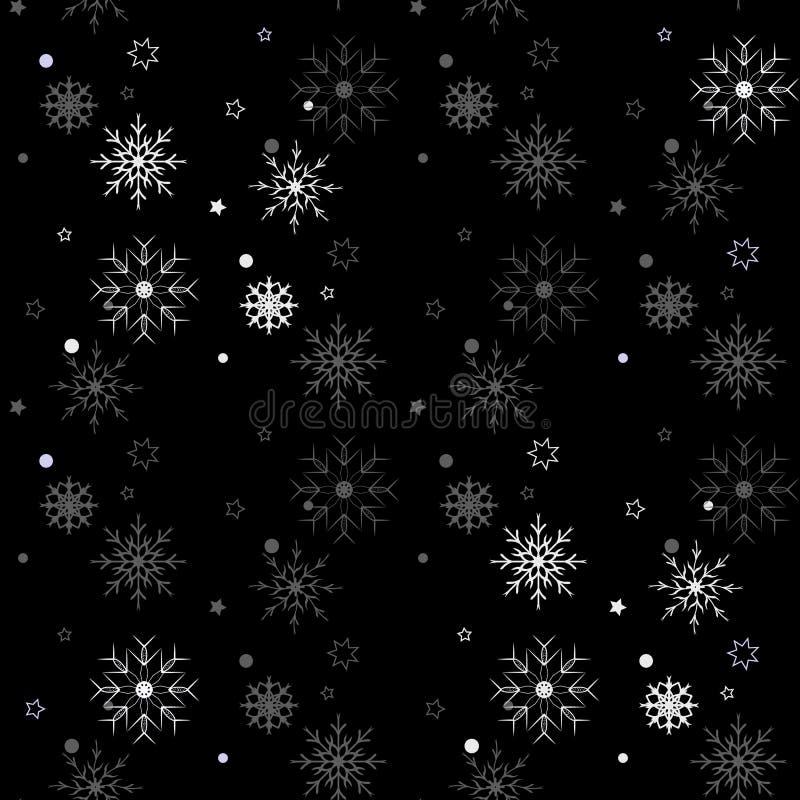 Winter Seamless Snowflake Pattern on black background. Vector EPS10. Winter Seamless Snowflake Pattern on black background. Vector EPS 10 royalty free illustration