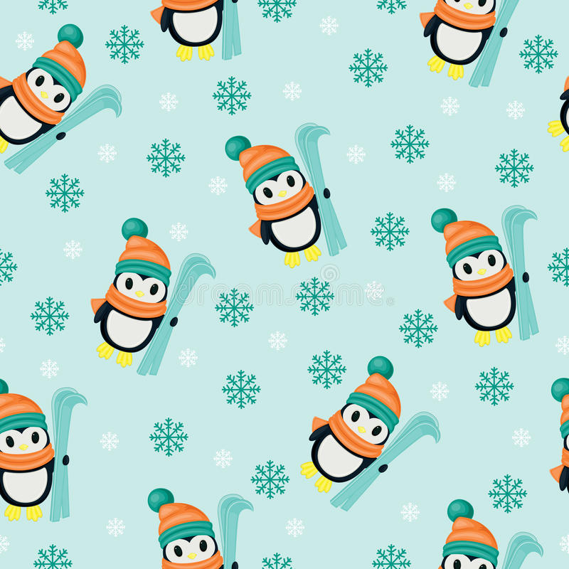 Winter seamless wallpaper. With penguins stock illustration