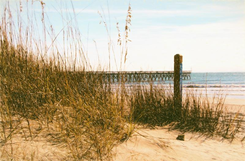 Winter Seascape at Cherry Grove Beach in Myrtle Beach SC. Winter landscape of the Cherry Grove Beach and pier in North Myrtle Beach South Carolina. This is royalty free stock photo