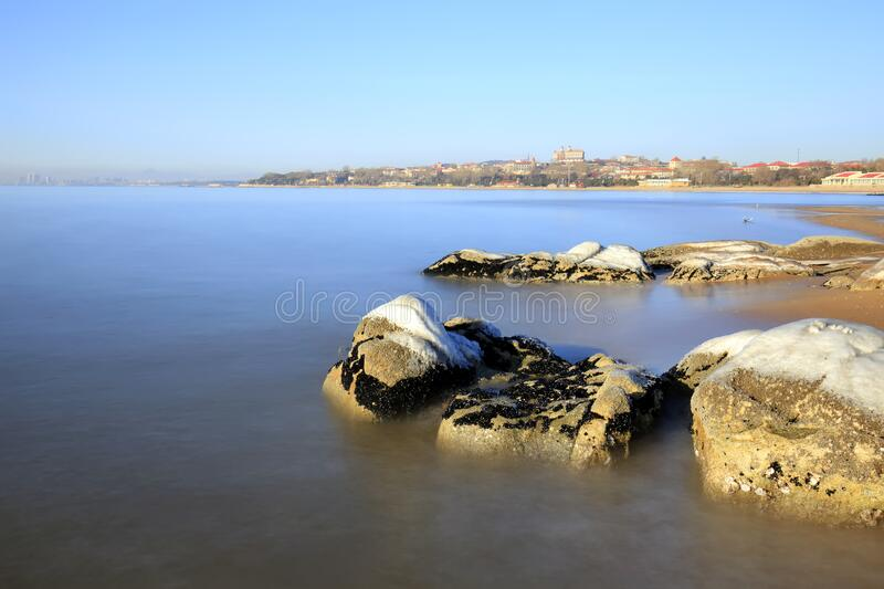 Winter seaside scenery. The coastline in winter stock images