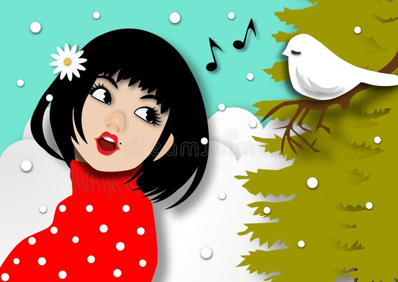 Winter season background with beautiful lady singing a song with a little bird in snow background and paper art design vector and stock illustration