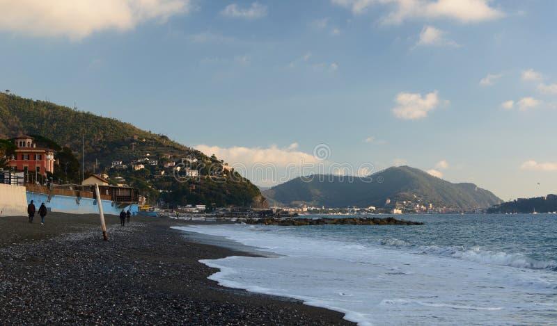 Winter season in Cavi di Lavagna beach. Liguria, Italy royalty free stock photography