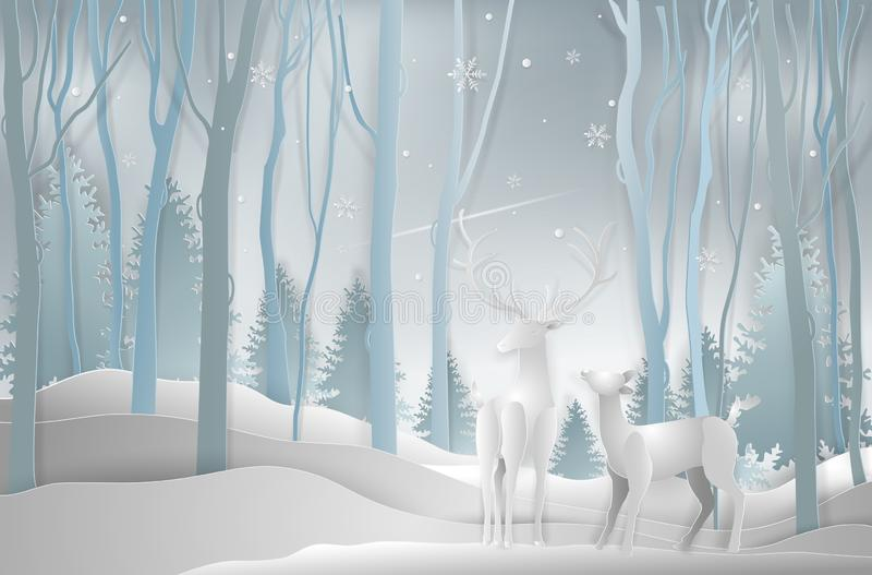 Winter season and Christmas day, Deer in forest landscape with s. Nowflakes and mountains background. paper art and digital craft style. Vector illustration stock illustration