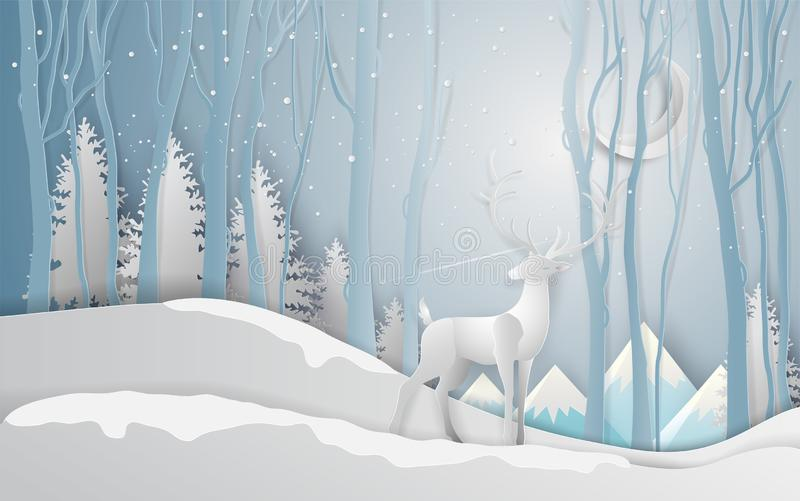 Winter season and Christmas day Deer under the view pine forest. Landscape with snow background. paper art and digital craft style. Vector illustration stock illustration