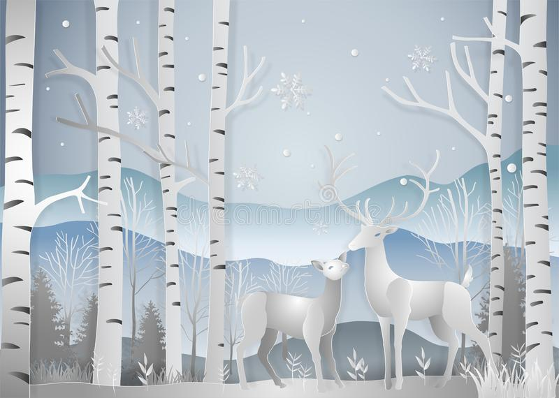 Winter season, Deer in forest landscape with snowflakes and mountains background. paper art and digital craft style. Vector illus. Tration stock illustration