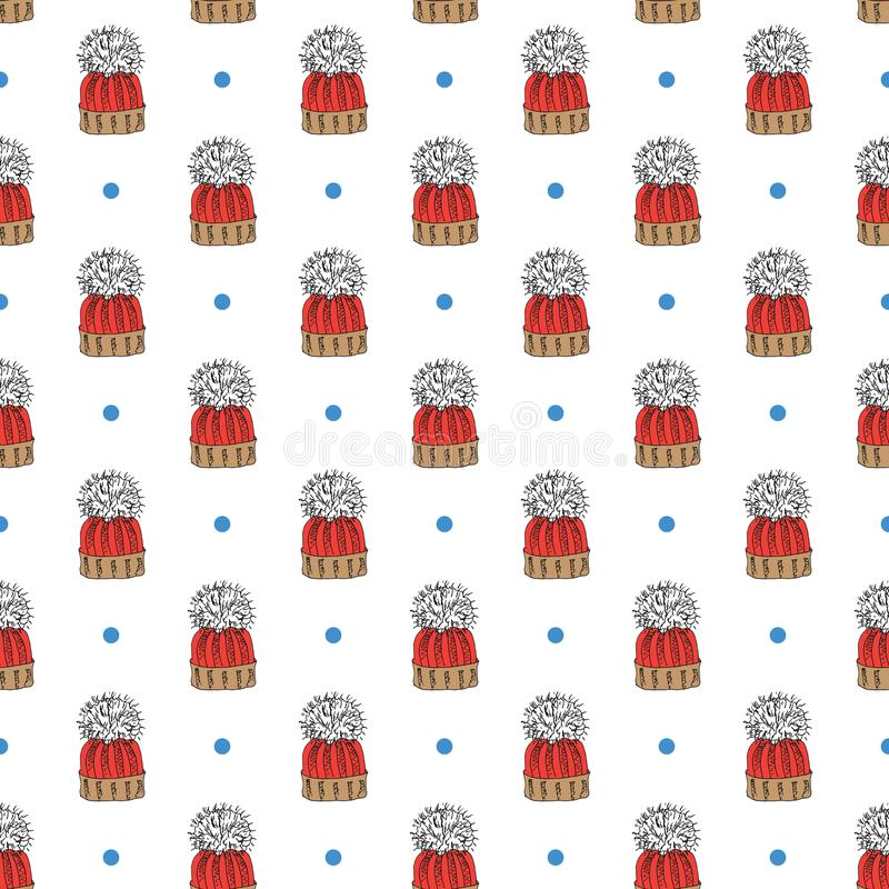 Winter season doodle clothes seamless pattern. Hand drawn sketch elements warm raindeer sweater, coat, boots, socks, gloves and ha stock illustration