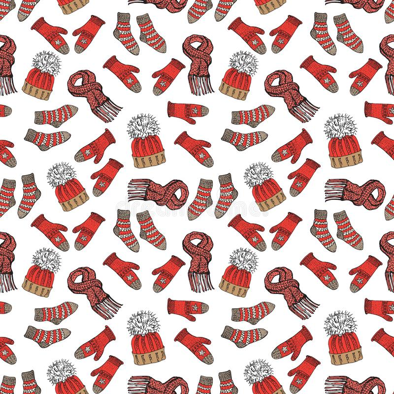 Winter season doodle clothes seamless pattern. Hand drawn sketch elements warm raindeer sweater socks, gloves and hats. vector bac stock illustration