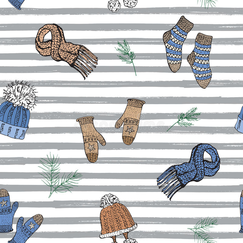 Winter season doodle clothes seamless pattern. Hand drawn sketch elements warm socks, gloves and hats. striped vector background vector illustration
