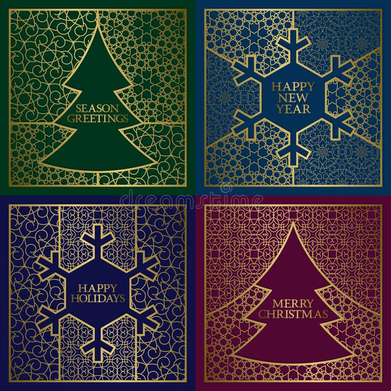 Winter season greetings cards covers set. Golden backgrounds with frames in Christmas tree and New Year snowflake shapes.  vector illustration