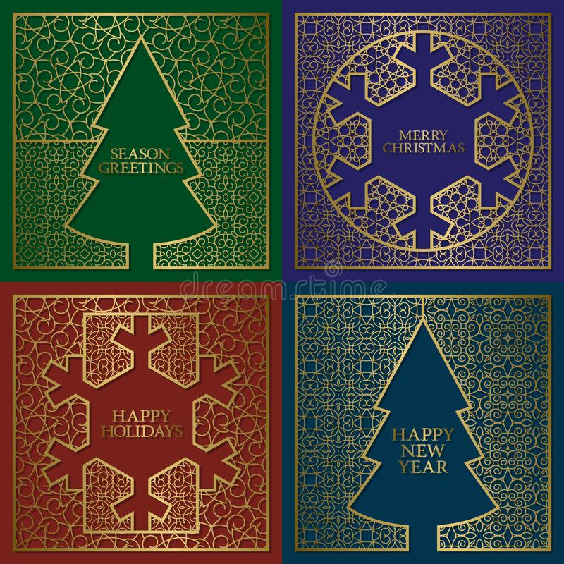 Winter season greetings cards covers set. Golden backgrounds with frames in Christmas tree and New Year snowflake shapes.  royalty free illustration