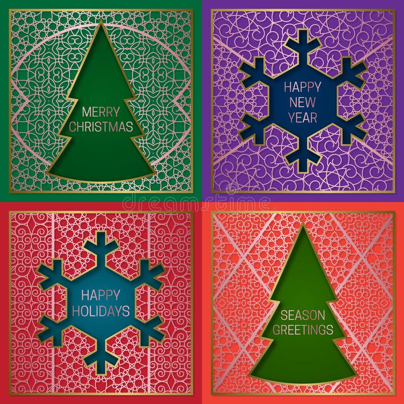 Winter season greetings cards covers set. Golden pink backgrounds with frames in Christmas tree and New Year snowflake shapes.  vector illustration