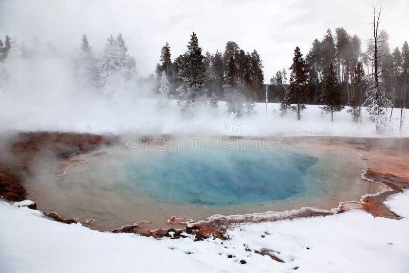 Winter season at hot lake royalty free stock photos