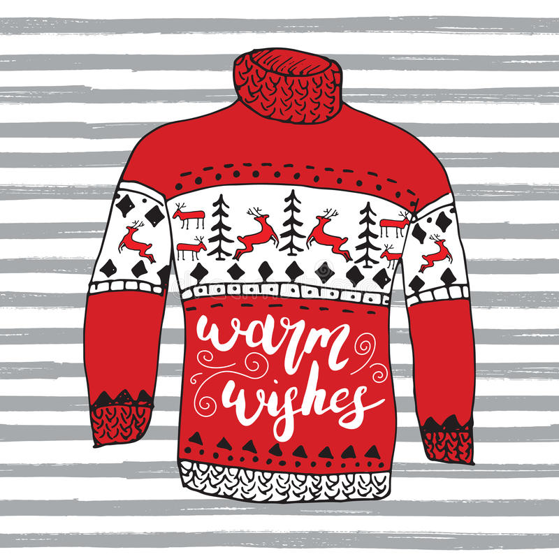 Winter season lettering warm wishes on Hand drawn warm raindeer sweater sketch. Vector illustration. royalty free illustration