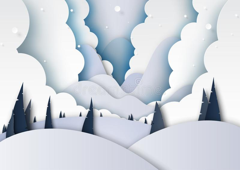 Winter season and mountains landscape background paper art style. Winter season landscape with snow,clouds,pine forest and mountains for merry christmas and royalty free illustration