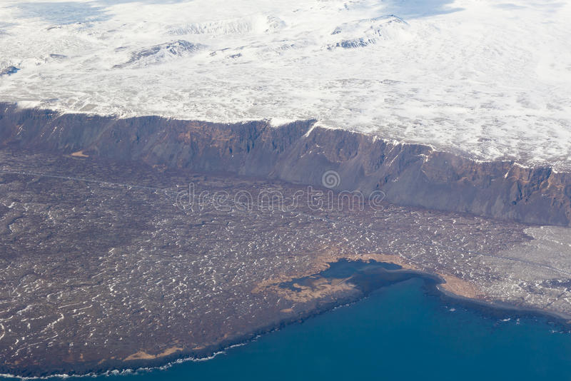 Winter season natural landscape aerial view. And seacoast, Iceland royalty free stock photo