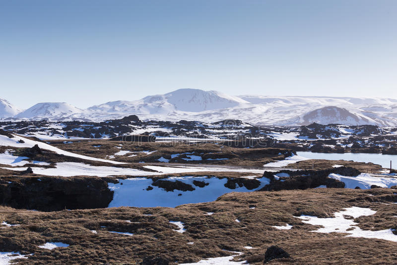 Winter season natural landscape with clear blue sky background. Iceland royalty free stock photo