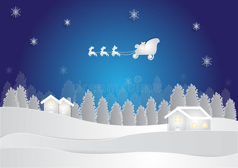 Winter season at night background with house and snow in forest on blue background, christmas background stock illustration