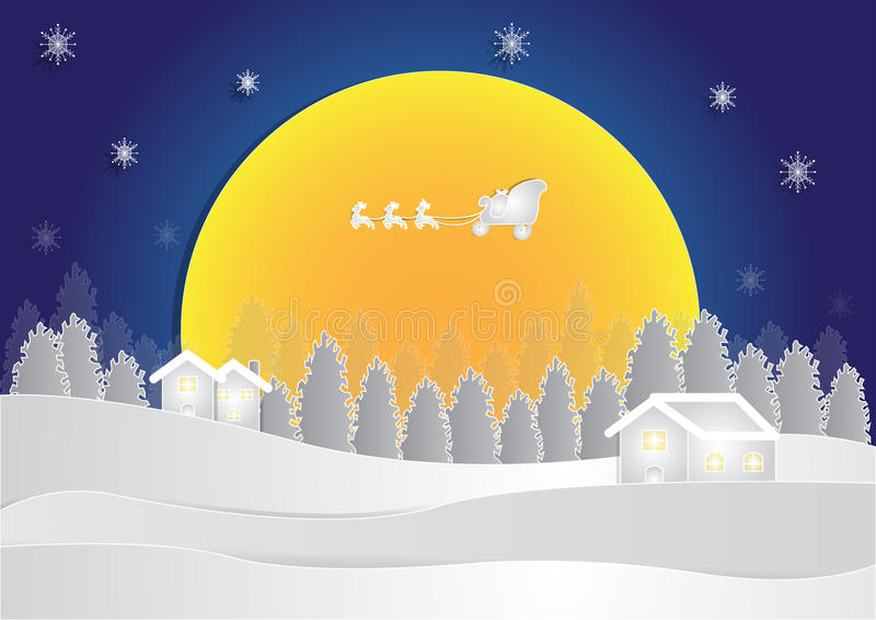 Winter season at night background with house and snow in forest on moon background, christmas background, vector vector illustration