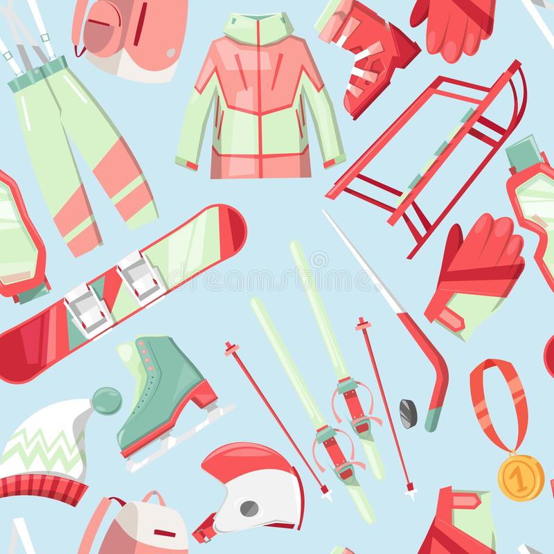 Winter season seamless pattern vector illustration. Equipment for winter sport such as sledge, snowboard, skates, skis vector illustration