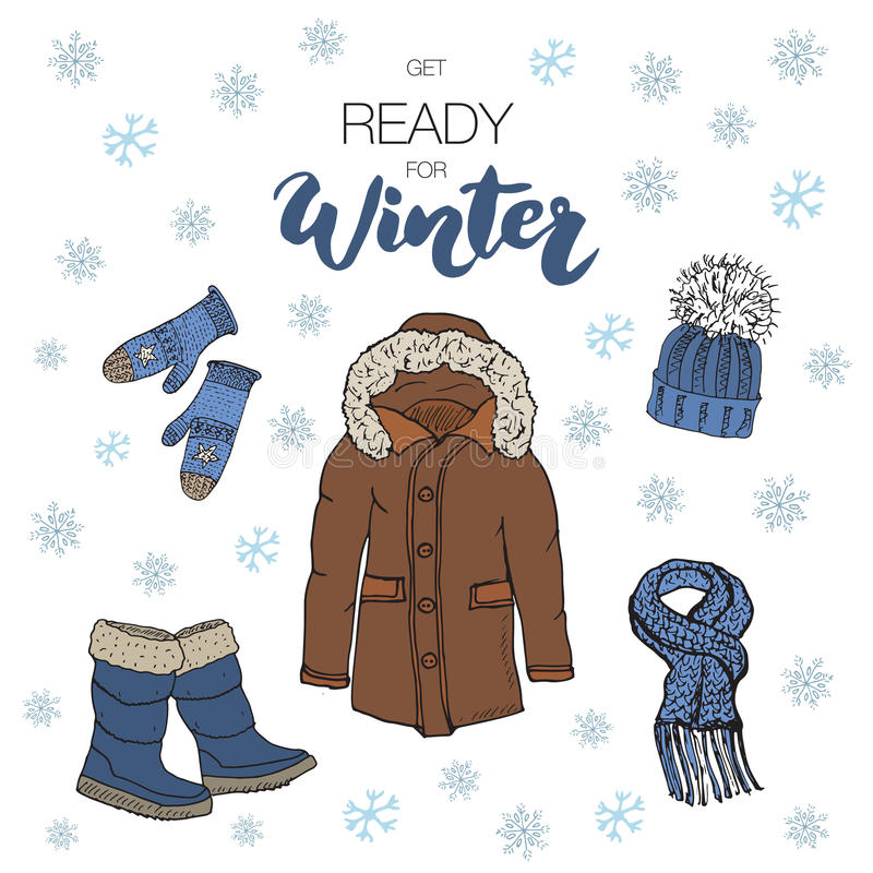 Winter season set doodle elements. Hand drawn sketch colection with boots, warm clothes, socks, gloves, coat and hat. Lettering wi stock illustration