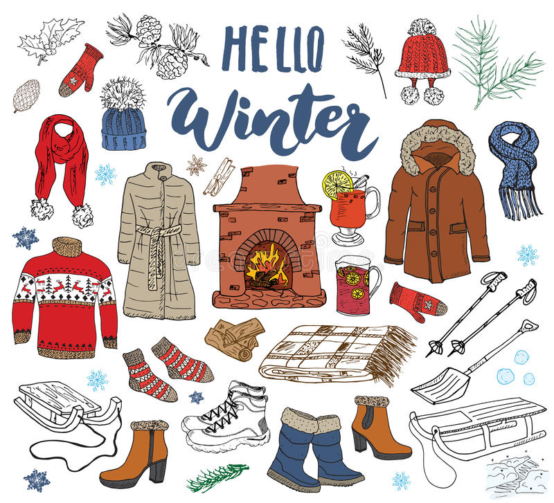 Winter season set doodle elements. Hand drawn sketch colection with fireplace, glass of hot wine, boots, clothes, warm blanket, so stock illustration