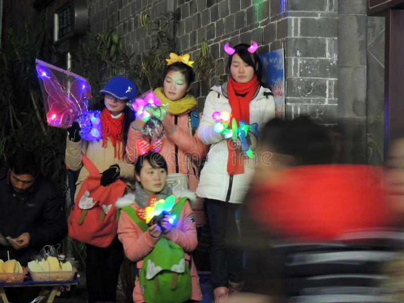 Winter season street seller Chinese women royalty free stock images