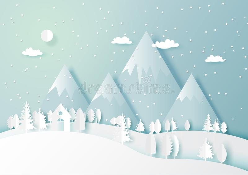 Winter season with white house and forest nature landscape background. Snow and winter season abstract background with forest nature landscape for merry stock illustration