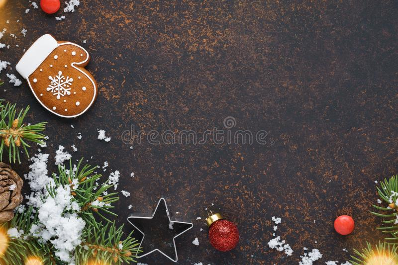 Winter seasonal sale concept. Christmas background. Copy space. Winter holidays sale concept. Christmas background with snow and red gift box. Copyspace stock photo