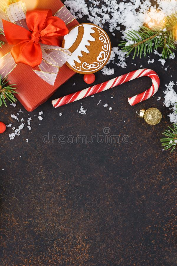 Winter seasonal sale concept. Christmas background. Copy space. Winter holidays sale concept. Christmas background with snow and red gift box. Copyspace stock photos
