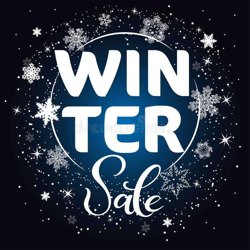Winter seasonal sale template for banner, poster, promo, printing. Snowflakes concept for new year, christmas, winter discounts in royalty free illustration