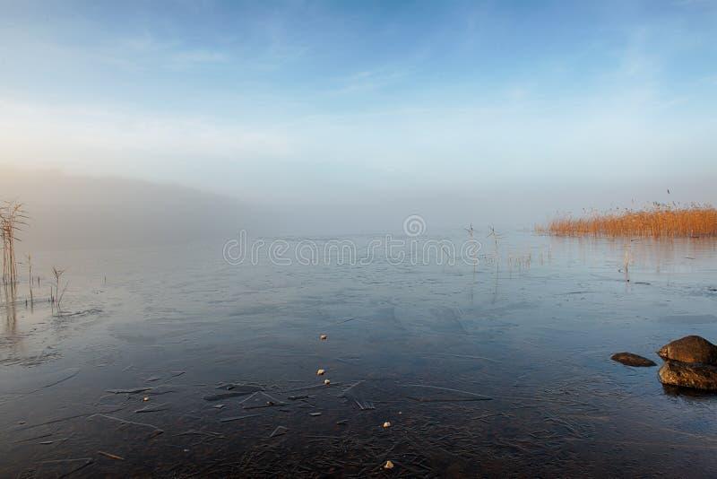 Winter See im Nebel stockbilder
