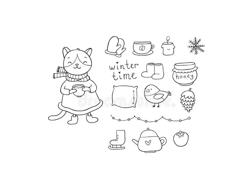 Winter set. Cute cartoon kitty and cozy things for a cold evening. lazy weekend. Vector royalty free illustration