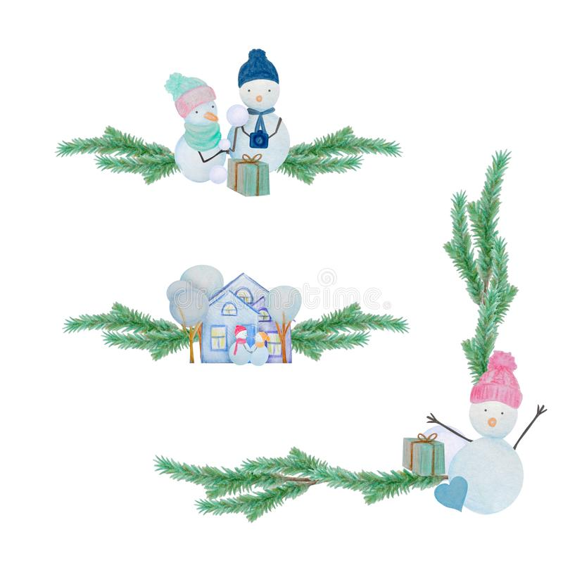 Winter set decor with snowmen and houses painted with colored watercolor pencils. Winter set with snowmen and houses painted with colored watercolor pencils. For vector illustration