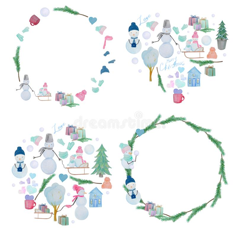 Winter set frames and compositions of snowmen drawn with colored watercolor pencils. For the design of children and cute. New Year, Christmas and Holidays royalty free illustration
