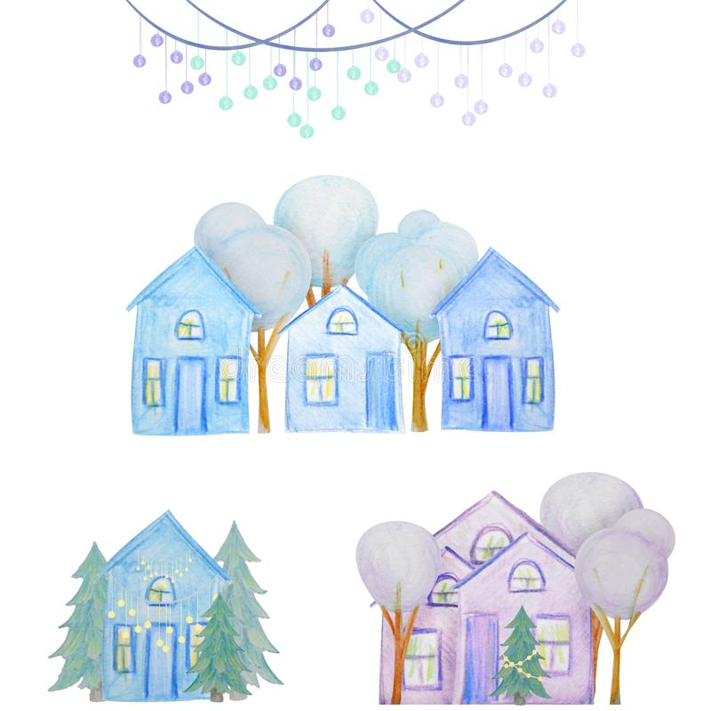 Winter set of houses drawn with colored watercolor pencils. For the design of children and cute. New Year, Christmas and Holidays stock illustration
