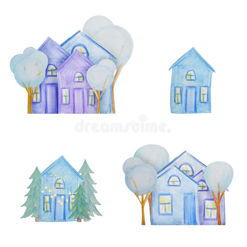 Winter set of houses drawn with colored watercolor pencils. For the design of children and cute. New Year, Christmas and Holidays vector illustration