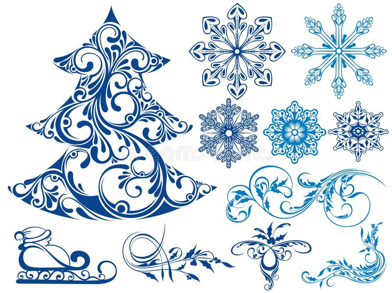 Winter set of snow elements royalty free illustration