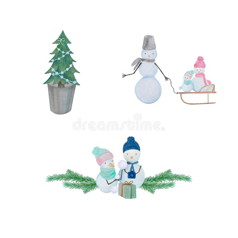 Winter set of snowmen drawn with colored watercolor pencils. For the design of children and cute. New Year, Christmas and Holidays royalty free illustration