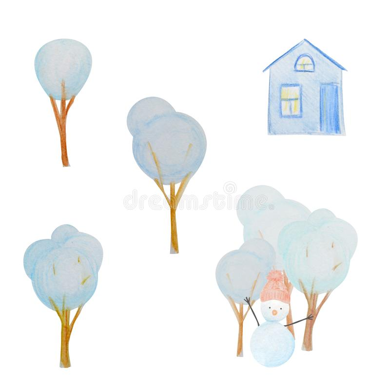 Winter set with snowmen and hous and trees painted with colored watercolor pencils. Winter set with snowmen and houses painted with colored watercolor pencils vector illustration