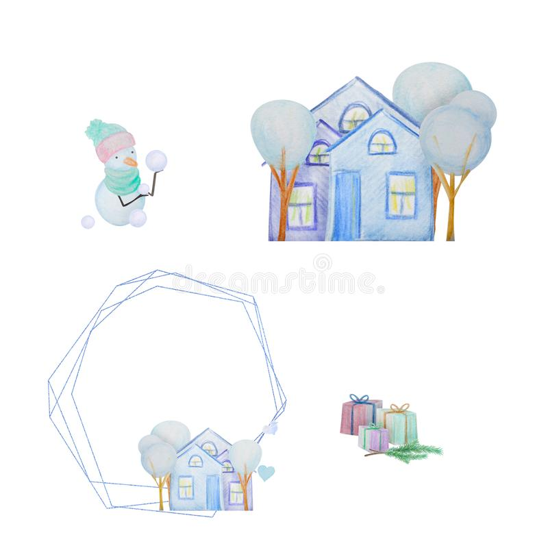 Winter set with snowmen and houses and ceometric frame painted with colored watercolor pencils. Winter set with snowmen and houses and frames painted with royalty free illustration