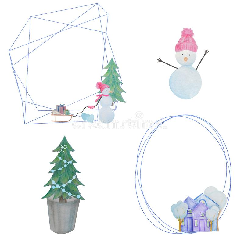 Winter set with snowmen and houses and geometric frames painted with colored watercolor pencils vector illustration