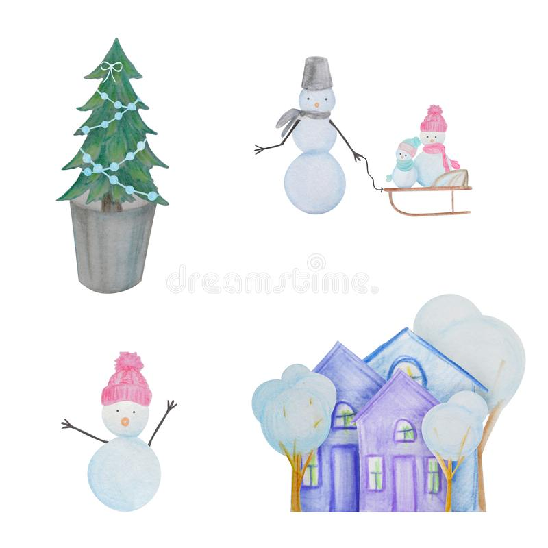 Winter set with snowmen and houses painted with colored watercolor pencils. For the design of children and cute. New Year, Christmas and Holidays stock illustration