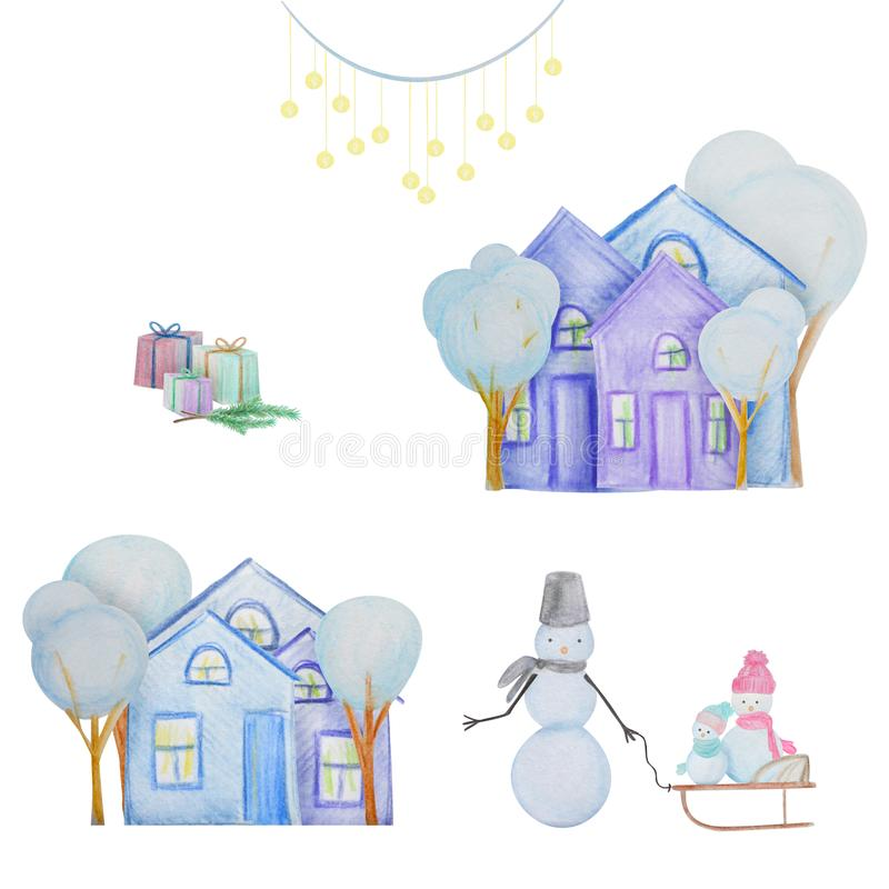 Winter set with snowmen and houses painted with colored watercolor pencils stock illustration