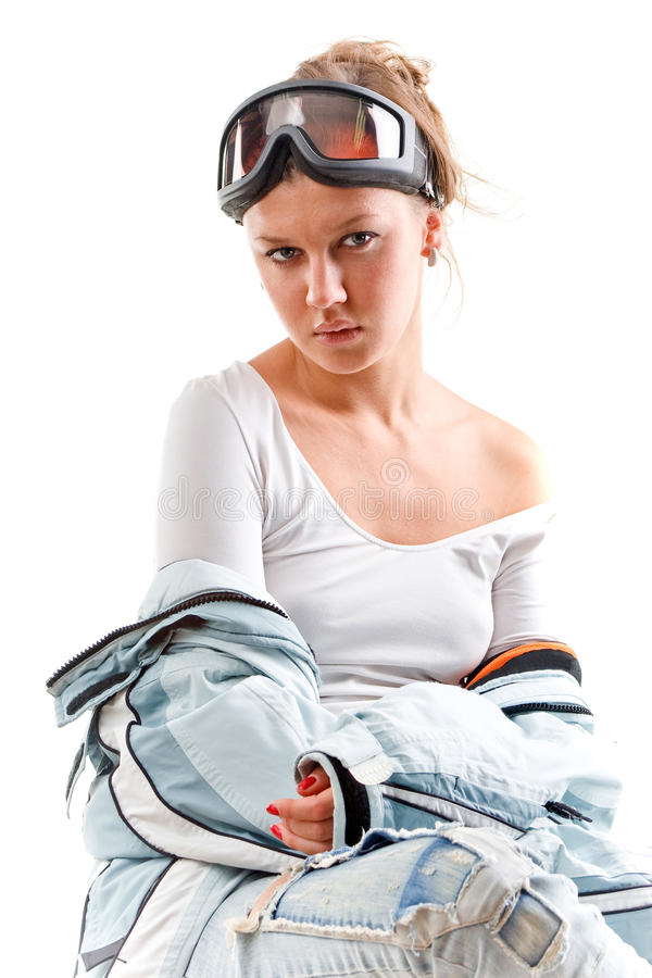 Winter nice girl with sports suit stock images