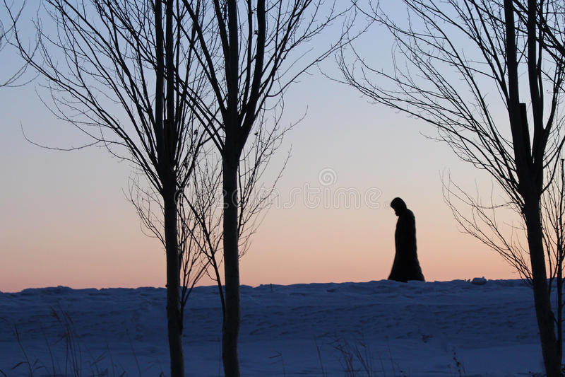 The winter of shadow. The winter of silence,a people lonely figure stock images