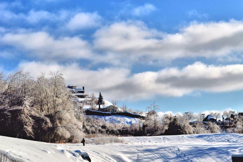 Winter in Sherbrooke lizenzfreie stockfotografie